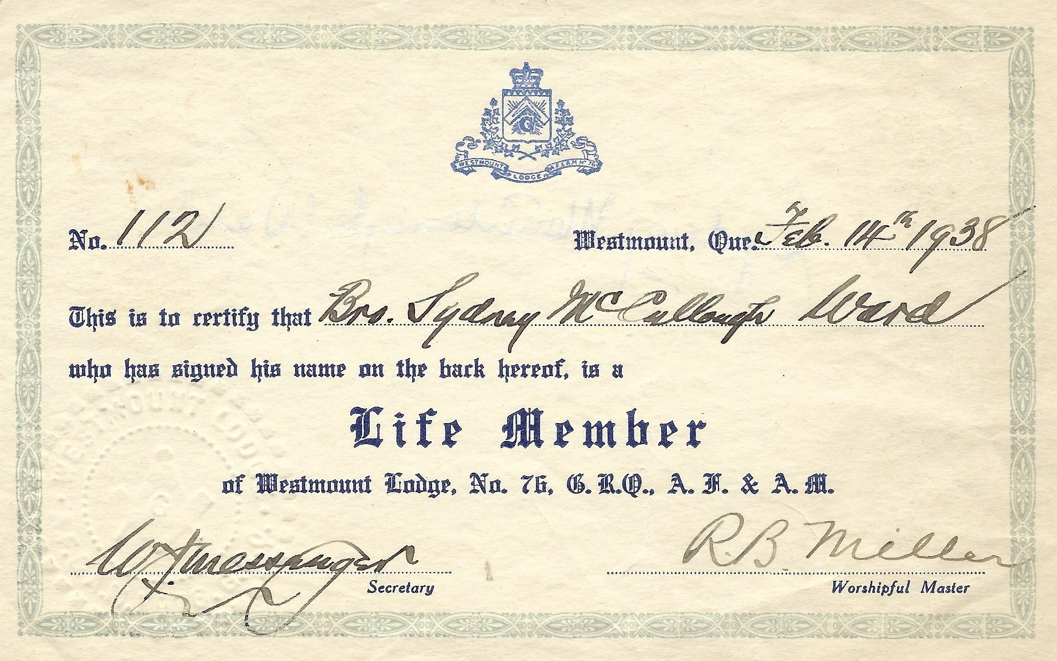 Syd Ward Masons Life Membership